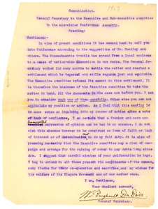 Letter from W. E. B. Du Bois to Niagara Movement Executive and Sub-executive committee: In the mid-winter Conference Assembly