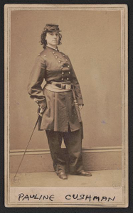 [Actress and Union spy Pauline Cushman in uniform with sword]