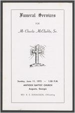 Funeral services for Mr. Charlie McCladdie, Sr., Sunday, June 11, 1972, 1:30 p.m., Antioch Baptist Church, Augusta, Georgia, Rev. R. E. Donaldson, officiating