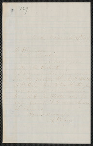A. O'Leary autograph note signed to Thomas Wentworth Higginson, Bath, Maine, 19 December 1859