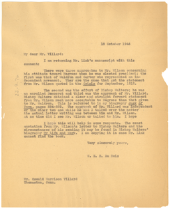 Letter from W. E. B. Du Bois to Oswald Garrison Villard