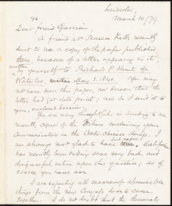 Letter from Samuel May, Jr., Leicester, [Mass.], to William Lloyd Garrison, March 10 / [18]79