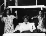"June Reddington, Jolanda Johnson, and A.J. Johnson in Lamar Alford's ""What Drove Molly Mad?"" at 7 Stages Theatre, Atlanta, Georgia, August 14, 1986"