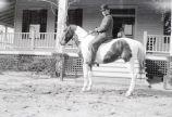 Man on horse at dormer house; neg. marked 912