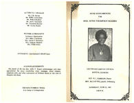 Home going services for Mrs. Effie Thompson Rogers, Centenary Baptist Church, Boston, Georgia, rev. R.L. Gammon, pastor, rev. Elijah Williams, officiating, Saturday, June 22, 1985, 2:00 p.m