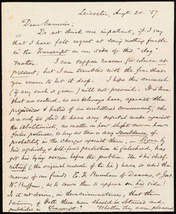 Letter from Samuel May, Jr., Leicester, to William Lloyd Garrison, Augt. 20, [18]57