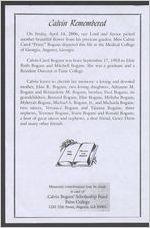 "Calvin remembered Miss Calvin Carol ""Prissy"" Bogans, September 17, 1953-April 14, 2006, Reverend Jerry Poole, presiding"