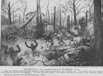 The fighting U.S.A. Marine Brigade in Belleau wood; The soldier applying the bayonet is an American Negro