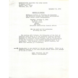 Massachusetts Coalition for Human Rights meeting notes, November 24, 1975