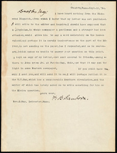 Letter from Franklin Benjamin Sanborn, Concord, Mass., to Samuel May, Sept. 21, '94