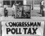 "[Caged monkey on platform with sign reading ""Congressman Poll Tax"" displayed by the NAACP Detroit branch during their ""Parade for Victory"" march]"
