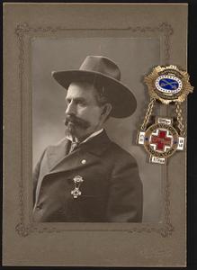 [Civil War veteran Sergeant George S. Burke of 1st New York Light Artillery Regiment Battery L and 1st New York Veteran Cavalry Regiment with Survivors' Association badge]