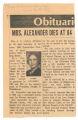 Audra Alexander obituary, June 3, 1973