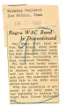 Negro WAC band is discontinued; Morning Register (Des Moines, Iowa); Women's military activity