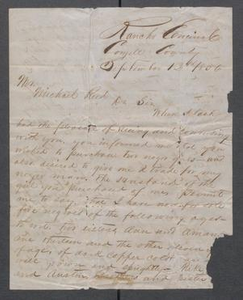 [Letter from J.M.M. Costley to Michael Reed arranging the purchasing of slaves] Michael Reed Papers