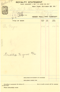 Royalty statement from January 1, 1918 to June 30, 1918