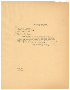 Letter from W. E. B. Du Bois to The Paul Laurence Dunbar Apartments, inc