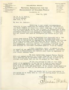 Letter from NAACP Philadelphia Branch to W. E. B. Du Bois
