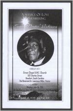 """A service of love remembering James """"Skeeter"""" Robinson, held at, Grace Chapel A.M.E. Church, 502 Charles Street, Beaufort, South Carolina, the Reverend Dr. Lawrence Miller, pastor, on, Monday, July 18, 2011, at the chiming hour of eleven o'clock in the morning June 18, 1939-July 12, 2011"""