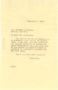 Letter from Jessie Fauset to Raymond Vernimont