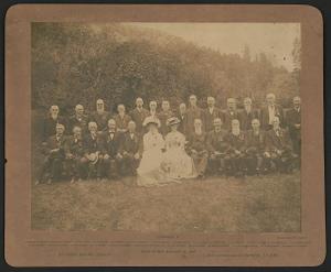 [Civil War veterans of Co. K, 15th Pennsylvania Cavalry Regiment at reunion, Glen Eyrie, Colorado Springs, Colorado]