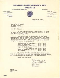 Letter from Lulu Stone to W. E. B. Du Bois