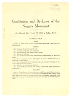 Constitution and by-laws of the Niagara Movement