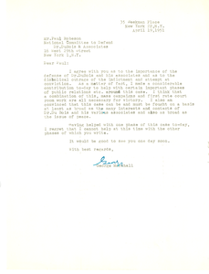 Letter from George Marshall to National Committee to Defend Dr. W. E. B. Du Bois and Associates in the Peace Information Center