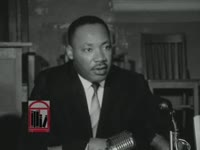 WSB-TV newsfilm clip of a Dr. Martin Luther King, Jr. discussing an alleged Republican plot to encourage African Americans to write-in King's name in the presidential election during a press conference held in Atlanta, Georgia on 1964 November 2