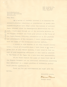 Letter from Marian Minus to W. E. B. Du Bois