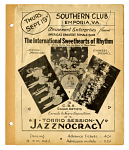 Thurs. / Sept. 19th / SOUTHERN CLUB / EMPORIA, VA. / Amusement Enterprises Presents / America's Greatest Female Band / The International Sweethearts of Rhythm. [black and white poster with three images, halftone reproductions of photographs]