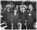 African American captain and part of the crew on the day of the launching of the liberty ship SS Frederick Douglass
