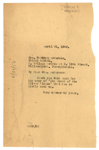 Letter from W. E. B. Du Bois to Blanche E. Anderson