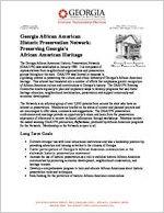 Georgia African American Historic Preservation Network: preserving Georgia's African American heritage [Nov. 2009] Program fact sheet