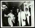 5 unidentified men in a hallway near room 213, Memphis, 1967