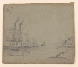 Gunboats on the Cumberland River, near Nashville [Tennessee], Carondolet in front