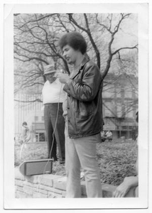 [Young Mario Marcel Salas with Microphone] Mario Marcel Salas Papers