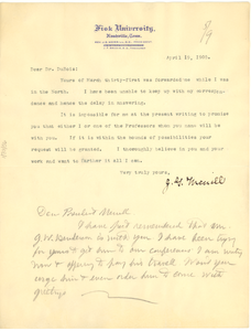 Letter from James Griswold Merrill to W. E. B. Du Bois