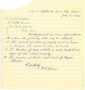 Letter from M. L. Kiser to W. E. B. Du Bois