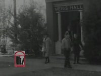 WSB-TV newsfilm clip of African American student Charlayne Hunter walking on the campus of the University of Georgia in Athens, Georgia, 1961 January