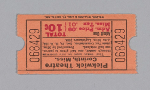 Ticket for the Pickwick Theatre