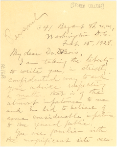 Letter from Coralie F. Cook to W. E. B. Du Bois