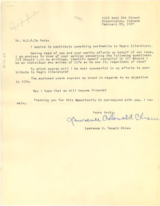 Letter from Lawrence O. Donald Chism to W. E. B. Du Bois