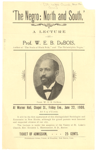 Advertisement for 'the Negro: north and south, a lecture
