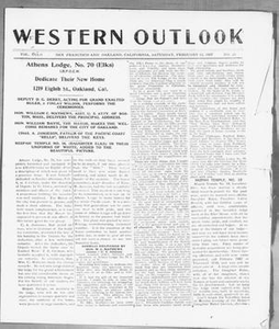 Western Outlook (San Francisco and Oakland, Calif.), Vol. 33, No. 20, Ed. 1 Saturday, February 12, 1927 The Western Outlook