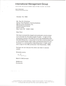Letter from Mark H. McCormack to Paul W. Critchlow