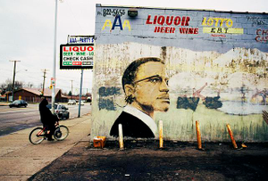 AAA Party Store, E. Warren Ave. at Lenox, Detroit, 2009, with mural by Bennie White, 1993