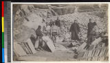 Chinese colleagues visiting a stone quarry, Haizhou, China, 1910