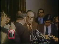 WSB-TV newsfilm clip of governors Lester Maddox of Georgia and John Bell Williams of Mississippi speaking to reporters about a strategy to end forced school busing after a meeting with Southern senators in Washington, D.C., 1970 February 17