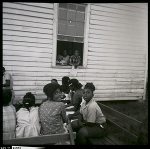 Freedom School class outside Mt. Zion Church during Freedom Summer